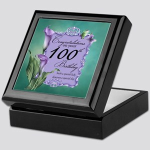 100th Birthday Purple Lily Design Keepsake Box